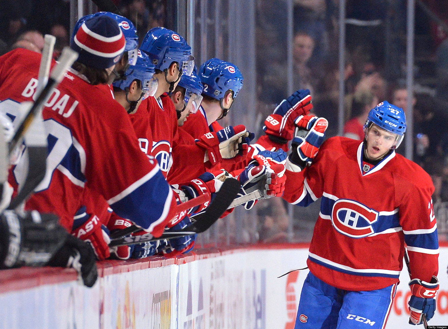 MONTREAL, CANADA - APRIL 15: Alex Galchenyuk #27 of the Montreal Canadiens celebrate a goal with teammates during the NHL game against the Philadelphia Flyers on April 15, 2013 at the Bell Centre in Montreal, Quebec, Canada. (Photo by Francois Lacasse/NHLI via Getty Images)